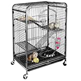 SUPER DEAL 37'' Ferret Cage Chinchilla Sugar Glider Guinea Pig Small Animal Cage - 4 Tiers - 3 Ladders - 2 Front Doors - Food Bowl - Water Bottle - Slide Out Trays - Swivel Casters (2019 Pro)