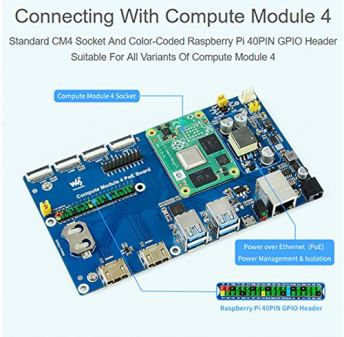 Compute-Module-4-PoE-Board-for-All-Compute-Module-4-Integrates-8023af-Compliant-PoE-Circuit-4X-USB-32-Gen1-Ports-Real-Time-Clock-Two-MIPI-DSI-Display-Connectors-Two-MIPI-CSI-2-Camera-Connector