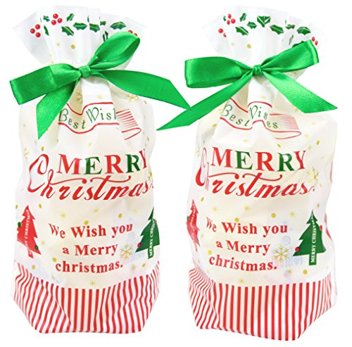 Zealax 15 Pack Best Wishes Christmas Candy Bags Plastic Gift Bags Package For Candy Buffet Drawstring Party Favor Goodie Pets