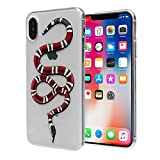 iPhone X Red Snake Case: Luxury Transparent Durable Designer Womens Protective TPU Cover / Bumper / Skin / Cushion with Vivid Print Technology (fits 5.8' iPhone X only)