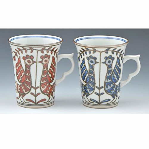 Kiyomizu-kyo yaki ware. Set of 2 Japanese mug cups someaka kacho with paper box. Porcelain. kymz-CGS724