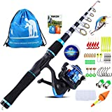 YONGZHI Kids Fishing Pole with Spinning Reels,Telescopic Fishing Rod,Shoulder Pocket,Full Kits Tackle Box for Travel Freshwater Bass Trout Fishing