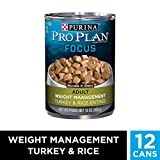 Purina Pro Plan Wet Dog Food, Focus, Adult Weight Management Turkey & Rice Entrée Morsels in Gravy, 13-Ounce Can, Pack of 12