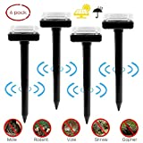 Solar Mole Repellent 4 Pack, Ultrasonic Pest Control Rodent Repellent Ultrasonic Pest Repeller Solar Powered Gopher Repeller for Outdoor Lawn Garden Yards,Waterproof