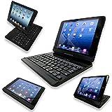 NEW Flip Turn Case Backlit for iPad Mini, Mini 2, Mini 3 - Clamshell Bluetooth Backlit Keyboard Case Better than Clamcase (Mini 1/2/3 Black)