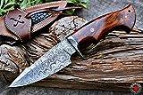 Custom Handmade Hunting Knife Bowie Knife Damascus Steel Survival Knife EDC 10'' Overall Walnut Wood with Sheath