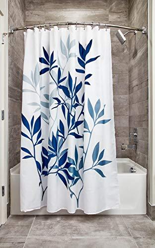 InterDesign Leaves Fabric Shower, Modern Mildew-Resistant Bath Curtain for Master, Kid's, Guest Bathroom, Standard, Navy and Slate Blue