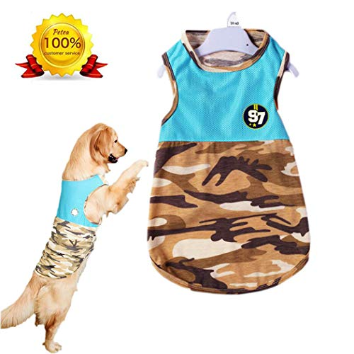Petea Pet Apparel Fashion Dog Hollow Out Camouflage Summer Vest Clothes Dog Dressing for Medium Large Extra Large Dogs 1