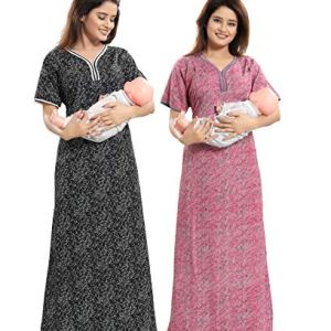 TUCUTE Women Beautiful Print Poly-Cotton Invisible Zip Pattern Feeding/Maternity/Nursing Nighty/Night Gown/Nightwear (Free Size) (Pack of 2 Pcs) Smart Combo 22  TUCUTE Women Beautiful Print Poly-Cotton Invisible Zip Pattern Feeding/Maternity/Nursing Nighty/Night Gown/Nightwear (Free Size) (Pack of 2 Pcs) Smart Combo 51wNEsVwqgL