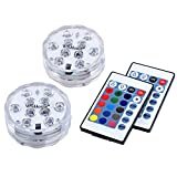 WisHome Waterproof Battery Operated Submersible LED Lights Multicolored RGB Color Changing Underwater Pool Lights with Remote Control for Pool Vase Christmas Wedding Party Holiday Lighting Pack of 2