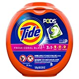 Tide PODS Laundry Detergent Liquid Pacs, Fresh Coral Blast Scent, 3 in 1 HE Turbo, 81 Count Tub (Packaging May Vary)