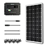 Renogy 100 Watts 12 Volts Monocrystalline Solar Starter Kit w/100W Solar Panel + 30A PWM Negative ground Charge Controller + MC4 Connectors +Tray Cable+ Mounting Z Brackets for RV, Boat