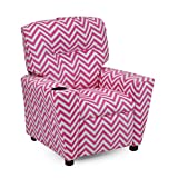 Product review for Girls Pink Chevron Recliner Chair With Cupholder - Childrens Reclining Upholstered Armchair - Shipping Included