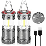 Moobibear LED Camping Lantern Flashlights Outdoor 3 in 1 Rechargeable COB LED Lanterns with Magnetic and Hook Base, 4 Modes, Waterproof Collapsible Lamp for Tent, Hiking, Outage, Emergency, 2 Pack