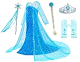 Luxury Princess Dress for Elsa Costumes with Shining Long Cap Girls Birthday Party 5T 6T