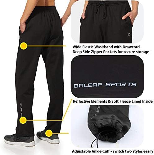 BALEAF Women's Running Thermal Fleece Pants Zipper Pocket Athletic Joggers Sweatpants Adjustable Ankle Winter Track Pants 3