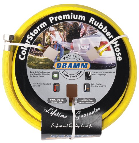 Dramm 17003 ColorStorm Premium 50-Foot-by-5/8-Inch Rubber Garden Hose, Yellow