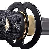 Handmade Sword - Stainless Steel Unsharpened Iaido Training Wakizashi Sword, Handmade, Full Tang, Musashi Tsuba, Black Scabbard