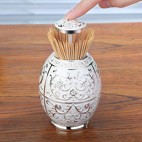 BAIXI Hand Pressure Automatic Toothpick Tube High - end European Eoothpick box Portable Creative Toothpick Home Furnishings