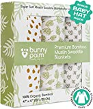 Muslin Swaddle Blankets, Unisex Organic Bamboo for Baby Set of 3 Swaddles for Boys and Girls, Soft Swaddling Receiving Sleep Blankets, Unisex Infant Toddler Gender Neutral Gift Baby Hat