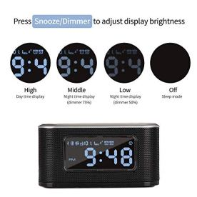 InstaBox-W33-Bluetooth-Dual-Alarm-Clock-with-Wireless-Charging-FM-Radio-USB-Charging-Port-Digital-Display-AUX-IN-Snooze-Sleep-Timer-Battery-Backup-4-Dimmer-for-Bedroom-Office-Hotel