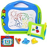 JOYIN 2 Magnetic Drawing Boards with Multi-Colors Drawing Screens Erasable Magna Doodle Board for Toddler Kids Writing, Sketching, Travel Size Gaming Pad, Educational Learning