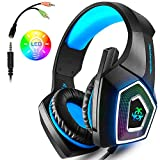 Gaming Headset for Xbox One, PS4, Nintendo Switch, PC, Game Headset with Mic, LED Light for Mac (Blue)