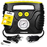 Kensun Portable Air Compressor Pump for Car 12V DC and Home 110V AC Swift Performance Tire Inflator 120 PSI for Car - Bicycle - Motorcycle - Basketball and Others with Analog Pressure Gauge (AC/DC)