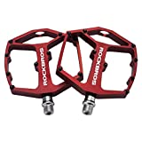 RockBros Mountain Bike Pedals Large Platform Bicycle Pedals 9/16' Wide Flat Aluminum Alloy Sealed Bearing for MTB BMX Red