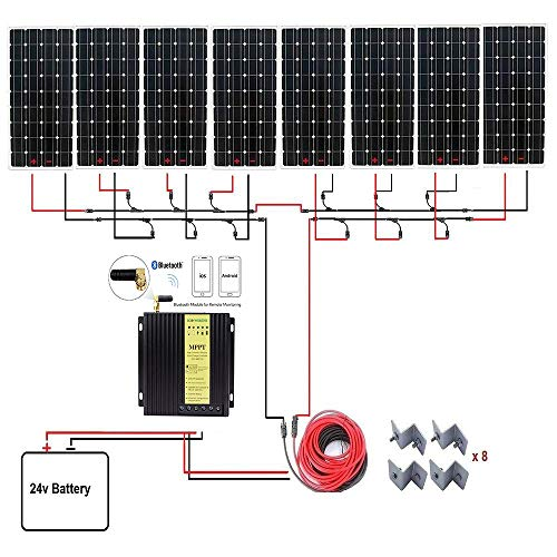 ECO-WORTHY 1300W Monocrystalline 24V Off Grid Solar Panel Kit: 8pcs 160W Mono Solar Panels+40A MPPT Controller with Bluetooth+Solar Cable+MC4 Branch Connectors Pair+Mounting Z Brackets