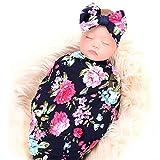 Newborn Receiving Blanket Headband Set Flower Print Baby Swaddle Receiving Blankets ga