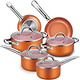 Nonstick Cookware Set, CUSINAID 10-Piece Aluminum Cookware Sets Pots and Pans Set, Fry Pan, Sauce Pan, Stock Pot with Glass Lids for Stovetops/Induction Cooktops, Dishwasher/Oven Safe(Copper)