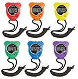 Champion Sports 910SET Stopwatch Timer Set: Waterproof, Handheld Digital Clock Sport Stopwatches with Large Display for Kids or Coach - Bright Colored 6 Pack