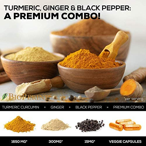 Turmeric Curcumin with BioPerine & Ginger 95% Curcuminoids 1950mg - Black Pepper for Absorption, Made in USA, Natural Immune Support, Turmeric Ginger Supplement by Natures Nutrition - 120 Capsules 6