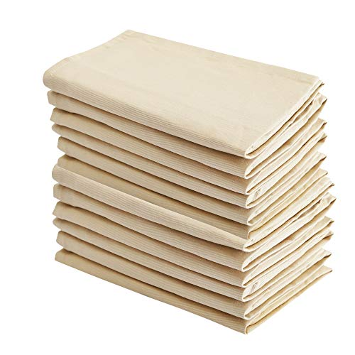 Cloth Dinner Napkins, Beige, 100% Coton, Set of 12, 18 x18', Premium Quality made with Fine Yarn