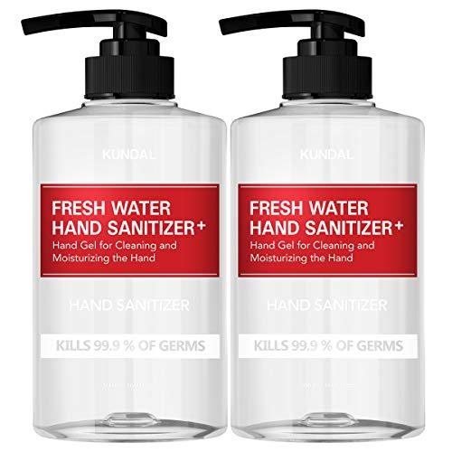 KUNDAL Hand Sanitizer Gel Kind with Pure Herb, 62% Ethyl Alcohol – 500ml(16.9 fl.oz) x 2 Bottles(1,000ml)