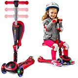 SKIDEE Scooter for Kids with Folding Seat - 2-in-1 Adjustable 3 Wheel Kick Scooter for Toddlers...