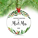ZUNON 2019 Our First Christmas as Mr & Mrs Couple Married Wedding Decoration 3' Ornament Wedding Gift Idea Mr Mrs (Mr & Mrs Ornament)