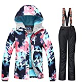 RIUIYELE Women's Ski Bib Suit Jacket Waterproof Snowboard Colorful Printed Ski Jacket and Pants Set