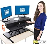 Flexpro Power Electric Standing Desk | Electric Height-Adjustable Stand up Desk | by Award Winning Stand Steady! Holds 2 Monitors! | Easy Quiet Adjustments! (Black) (32')