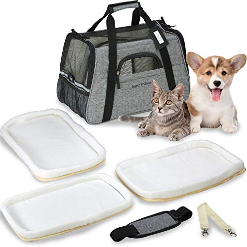 Besser Products Airline Approved Pet Carrier - Soft Sided Dog Travel Bag for Men and Women with 3 Bonus Fleece Pads - for Small Dogs and Cats - Charcoal Grey (Grey) 1