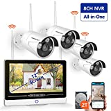 """【2019 New】 All in One with 12"""" Monitor 1080P Security Camera System Wireless,SMONET 8-Channel Outdoor Home Camera System(2TB Hard Drive),4pcs 2.0MP(1080P) Waterproof Wireless IP Cameras,P2P,Free APP"""
