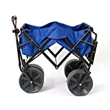 Mac Sports Heavy Duty Collapsible Folding All Terrain Utility Wagon Beach Cart with Table - Blue