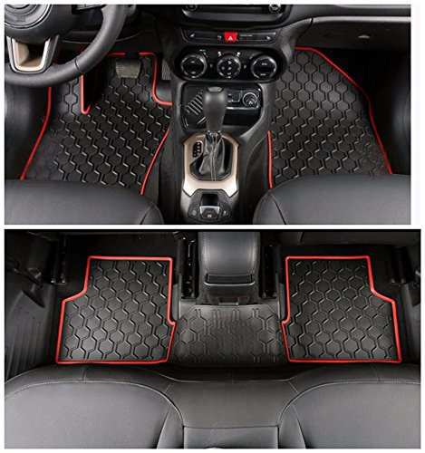 Nicebee Red Rubber Fashion Interior Carpets Slush Liner Synthetic Leather Floor Mat For Jeep Renegade 2014 UP
