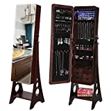 SONGMICS 8 LEDs Jewelry Cabinet Armoire with Beveled Edge Mirror, Gorgeous Jewelry Organizer Large Capacity Brown Patented UJJC89K