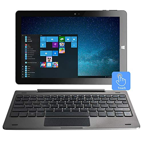10.1 Inch IPS Mini Touch Screen Windows 2 in 1 Laptop Computer Tablet PC - Intel Quad-Core Processor 4GB DDR3 32GB eMMC Dual Webcam Micro SD Bluetooth 4.2 Wi-Fi HDMI Keyboard Included