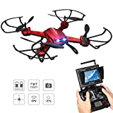 Potensic Drone with Camera, F181DH 5.8GHz RC Drone Quadcopter with 720P HD Live Camera RTF Altitude Hold UFO & Newest Stepless-Speed Function, 5.8Ghz FPV LCD Screen Monitor (Red)