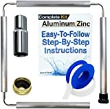 About Fluid   Aluminum Zinc Flexible Anode Rod KIT for Water Heaters   INCLUDES1-1/16' DEEP WELL SOCKET   Brass Cap   Teflon Tape   44 Inches Long   GETS RID OF STINKY ROTTEN EGG SMELLING WATER!