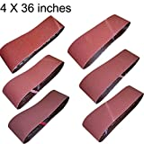M-jump 4-Inch x 36-Inch Aluminum Oxide Sanding Belt,12-Pack(2 Each of 60 80 120 150 240 400 Grits)(4x36in)