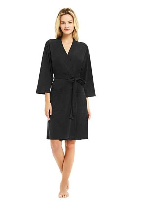 U2SKIIN Kimono Bathrobe for Women with 3/4 Sleeves, Lightweight Cotton Short Robe Ladies Longewear for SPA Bathing Wedding Black